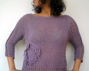 Lace Purple Sweater Trendy  Opaque Silk Hand Knit Woman Sweater NEW