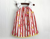 SALE. Red polka dot stripe yellow floral sun dress in sizes 3-6 months and 18-24 months