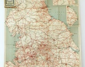 V. large Vintage England map, Very Big Geographia Numbered Road Touring Map, Sheet No. 4, map poster