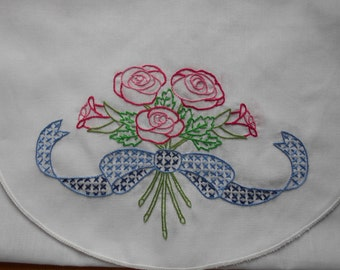 "Hand embroidered NEW table runner Mantel scarf  Table cloth 39 1/2"" X 13 3/4"" Pink Roses Blue ribbon Green leaves  Ready to ship"