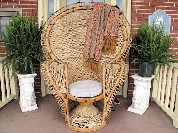 Vintage Wicker and Cane Peacock Chair-Reserved for Natalie