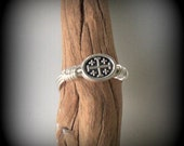 Cross ring - wire wrapped ring - Jerusalem cross bead - Virgin Mary - Immaculate Heart of Mary