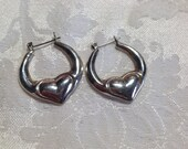 Vintage Sterling Silver Earrings - puffy hearts 1980s