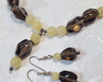 Smoky Quartz with Yellow Quartzite and sterling beads & silver toggle clasp - brown grey gray tumbled nugget beads