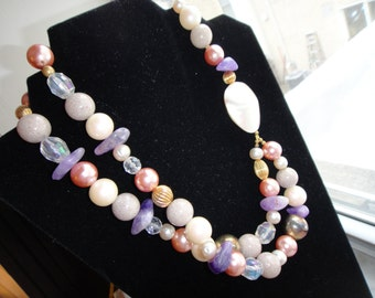 SALE Amythist Crystal Pearl Shell Glass and Metal Necklace