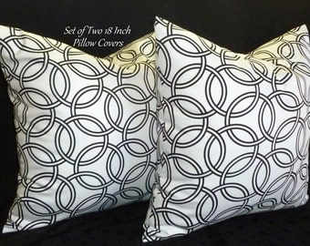 Decorative Pillows, Throw Pillows, Pillow Covers, Accent Pillows - Two 18inch Black and White