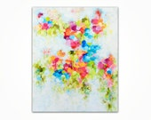 SALE - Abstract Floral Painting - Original Acrylic Flower Painting - Vibrant Floral Painting on Canvas