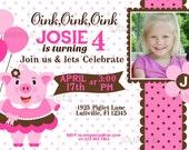 Pink Pig Party Birthday Invitation Pink Brown White Polka Dot Farm Zoo Animal