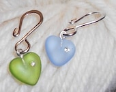 Crochet / Knitting Stitch Markers - Frosted Glass Heart with Swarovski Crystal, Silver Hook