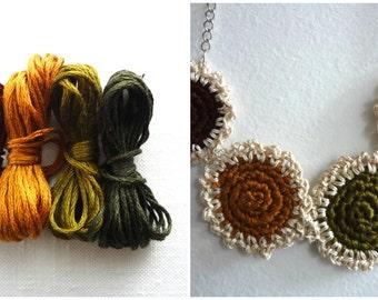 The Mini DoilyNecklace no.7 - Fall - Mini Crochet Collection, mini crocheted necklace, bohemian necklace, tiny crocheted doilies