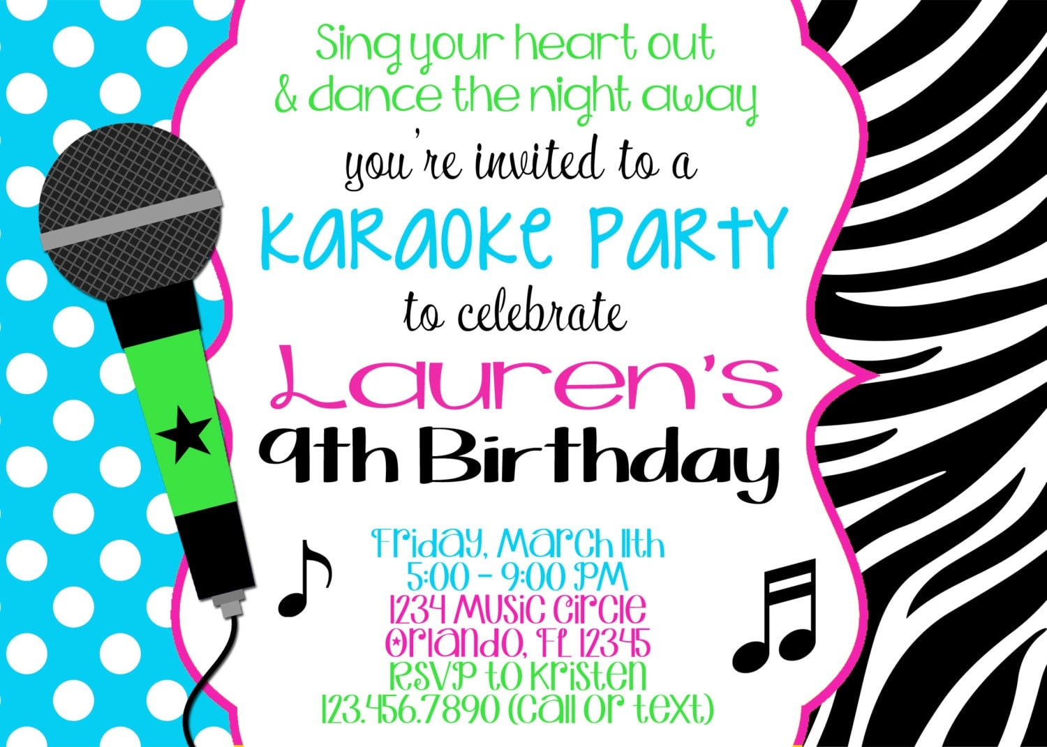 KARAOKE Girl 5x7 Birthday Invitation Printable