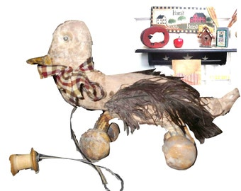 Primitive Pull-Toy, on wheels, Duck, Goose - distressed, wood and cloth