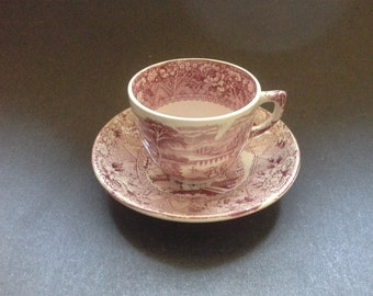 Red 'Rhone' Pattern Transfer Print Child's Cup and Saucer William Alseger Adderley c. 1880