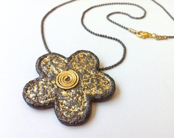 Paper anniversary gift, Paper jewelry, Flower necklace, First Anniversary gift for her, Eco chic necklace