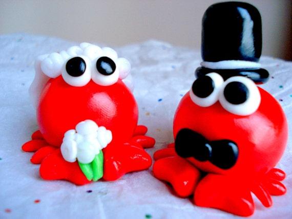 Cake Topper Crab Beach Wedding Cake Topper Destination Wedding Decor Crab Cake Toppers Bride and Groom Cake Decoration