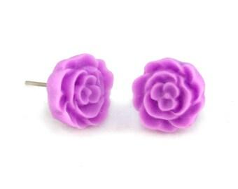 Simple Light Purple Flower Earring Posts