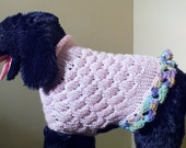 Dog Sweater Three quarter style Hand Knit Bella Medium 13 inches long Pink PRE CHRISTMAS SALE