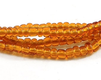 2 Strands Seed Beads Amber Colored Translucent Africa 38 Inch 81622