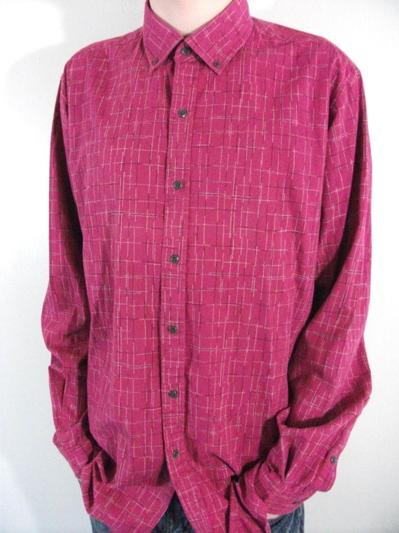 vintage men 39 s shirt size medium tall pink button down by