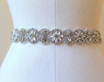 Bridal Art Deco Austrian Crystal Flower Medallion Sash.  Vintage Beaded Rhinestone Wedding Belt.  FLORENZA