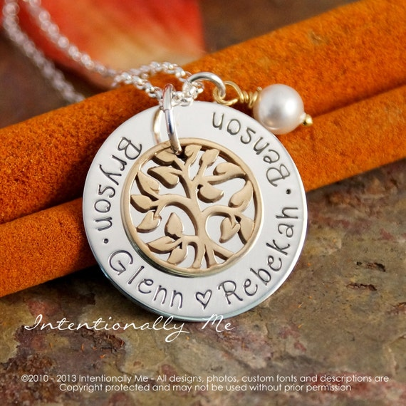 Tree of life Necklace - Hand Stamped Jewelry - Family Tree Pendant - My Family with pearl (Bronze - Small)