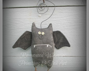 Boris the Bat, primitive bat, primitive halloween, prim halloween, Halloween,