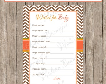 Fall Wishes for baby, wishes for baby card, autumn, chevron wishes for baby - INSTANT DOWNLOAD Fall1