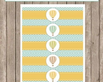 Water Bottle Wraps - Hot Air Balloon Chevron Baby Shower Water Bottle Label - Bottle Wrap  Balloon3  INSTANT DOWNLOAD