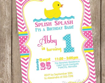 Rubber Ducky birthday invitation, duckie birthday invitation, rubber duckie invitation, girls birthday, aqua, yellow, hot pink, digital file