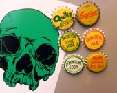 6-Pack yellow Bottle Cap Magnets Vintage / repurposed bottlecaps / new old stock