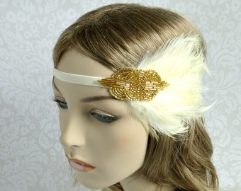 Great Gatsby Headband, 1920s Hair Accessories, Art Deco Gold Beaded Cream Feather Fascinator by Flower Couture