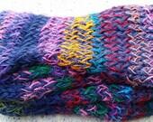 Handknit Scarf ~ Dark Blue and Handspun Recycled Silk Sari Yarn ~ Fair Trade - Heavy, Fall and Winter Wear, Twisted and Garter Stitch, OOAK