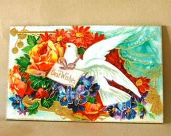 "Victorian Dove & Flowers ""Best Wishes"" Sign, Handmade, Detailed Vintage Style"