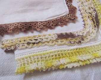 Lot of 3 Vintage Solid White Crocheted Tatted Trim Cotton Linen Hankies