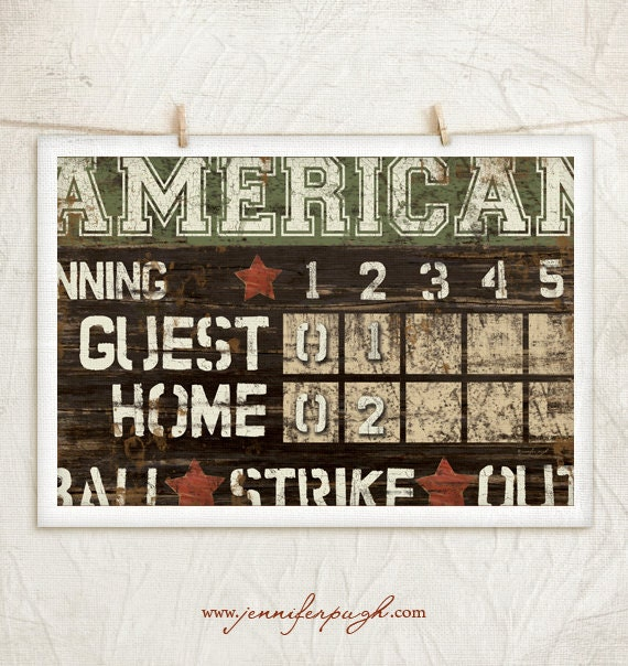 Vintage Baseball Wall Decor : American scoreboard art print boys by