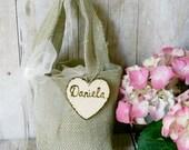 Burlap Flower Girl Basket   light green burlap Personalized Name Wooden Heart , Rustic, Shabby Chic bridesmaid favor bag