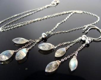 Natural Flash Labradorite Sterling Sliver Gemstone Necklace and Earrings Set