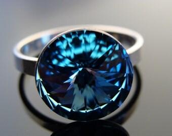Sterling Silver Swarovski Crystal Aquamarine 12 mm Rivoli Ring size 7.5
