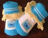 Baby Girl Cookie Monster Sesame Street Booties/Shoes/Socks