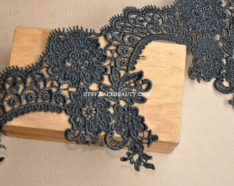 Black Venice lace Trim Exquisite Rose Flower Embroidered Scalloped Floral Lace 6.29 Inches Wide 1 Yard