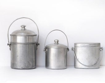 1 Antique French  round Lunch Pail in aluminium, milk pail milk churn
