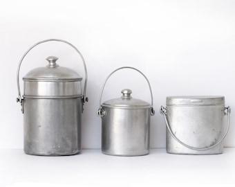 1 Antique French  round Lunch Pail in aluminium, milk pail milk churn
