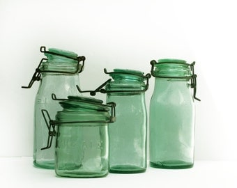 1 large L'IDEAL canning jar, antique french green glass caning jar, french country style