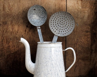 Antique French enamel ladle and skimmer, blue grey and white speckled enamel, Vintage Home Decor Kitchen