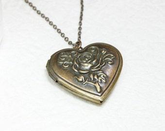 Antique style Rose pattern Heart Locket - S2093-1