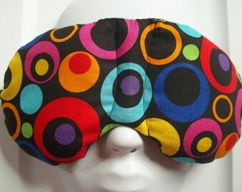 Herbal Hot/Cold Therapy Sleep Mask with adjustable and removeable strap Colorful Rings and Circles