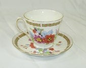 Vintage Duchess England Bone China Teacup and Saucer Asian Pink Orange Flowers Gold Trim