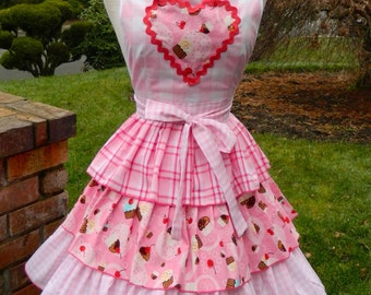 Upcycled Valentine's Apron -Little Miss Muffin