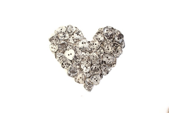 10 Small Heart Buttons . handmade metal buttons . rustic heart buttons . metal heart buttons