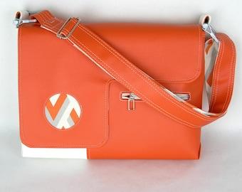 SALE! Vegan Laptop Bag Tangerine Orange and Snow White, vinyl laptop bag